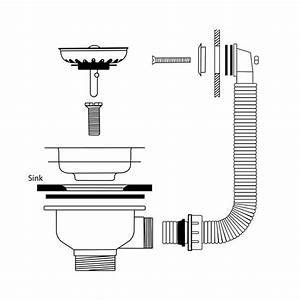 Caple Cpk1501 Stainless Steel Waste And Square Overflow Kit