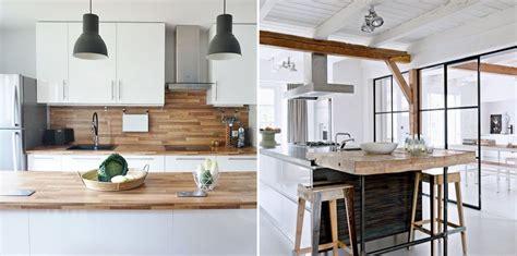 cuisine blanc laqué et bois cuisine blanche et bois 25 id 233 es et photos ctendance fr