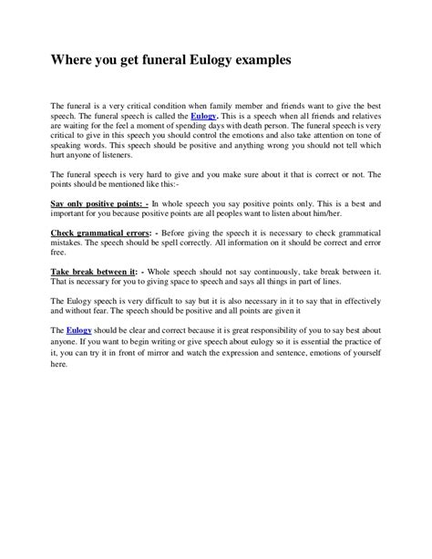 Eulogy Template by Where You Get Funeral Eulogy Exles