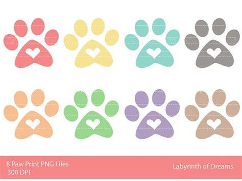 paw print  heart digital clip art graphics