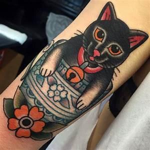 Traditional Black Cat Tattoo On Arm