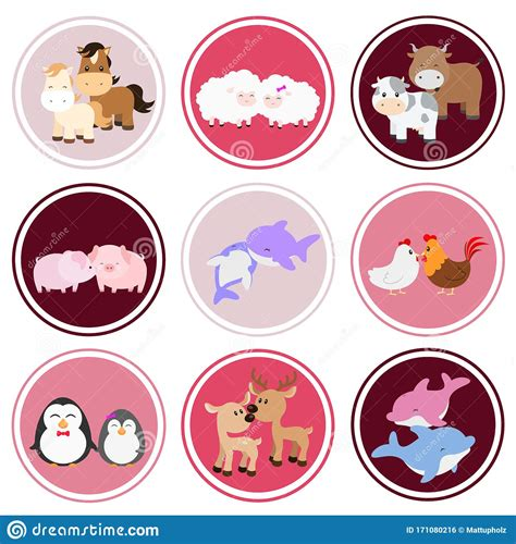 Tribal/ethnic vector animal illustrations, colorful designs, fully editable. Cute Animal Couples Sticker Set On White Stock Vector ...