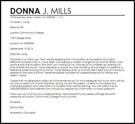 resignation letter sample uk letters  sample letters