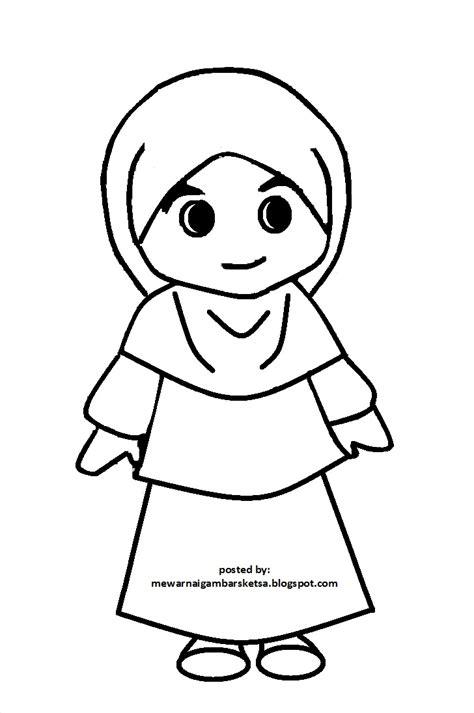 mewarnai gambar muslimah cantik mewarnai terbaru