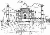 Coloring Pages Colouring Taj Mahal India Around Places Famous Landmarks Traditional Activity Village Drawing Lesson Activityvillage Colour Travel Indian Children sketch template