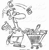 Shopping Grocery Coloring Cartoon Outline Clipart Vector Food Store Guy Leishman Ron List Man Royalty Carrying Graphic Clipground Cliparts Showing sketch template