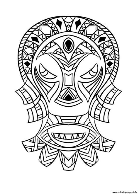 adult african mask  coloring pages printable
