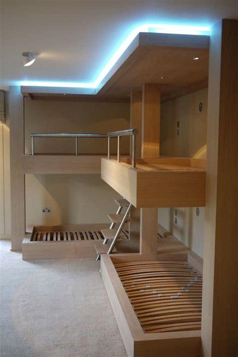 ultimate  shaped bunk beds  oak  lighting