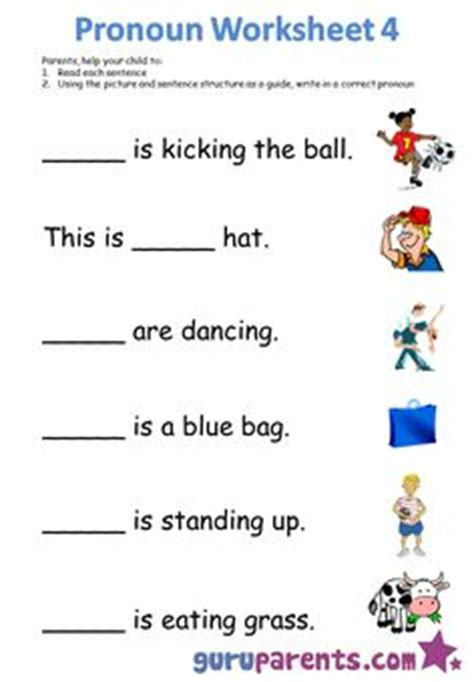 pronoun worksheets language reading hands on learning