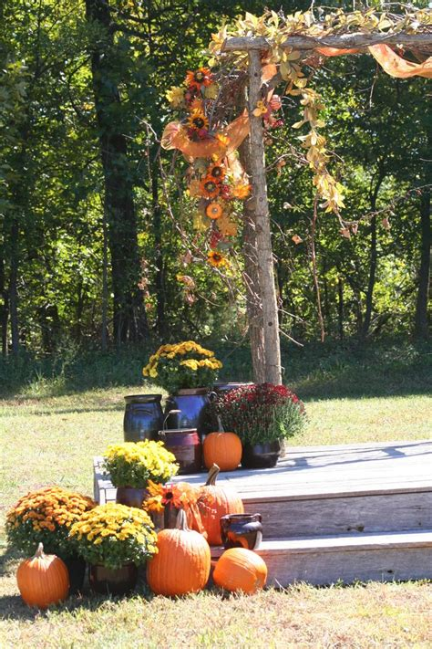 Rustic Country Fall Wedding Arch Decorated With