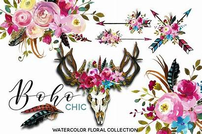 Boho Watercolor Floral Flowers Clipart Chic Pink