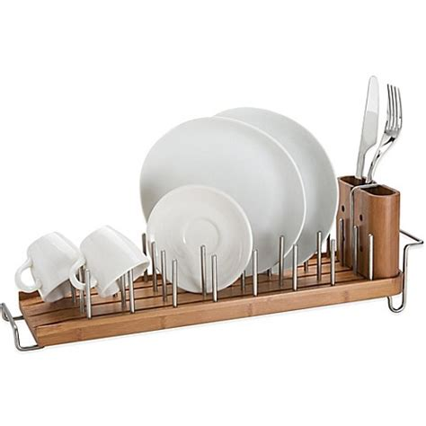 bamboo dish rack  drainer bed bath