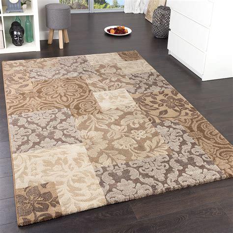 teppich beige edler designer teppich karo barock muster meliert in hellbraun beige grau wohn und schlafbereich