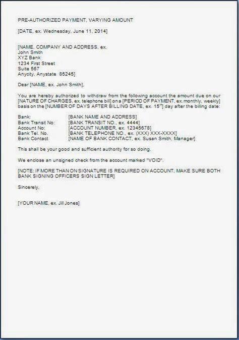 authorization letter  bank  debit account