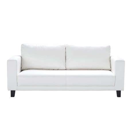 sofa maison du monde 3 seater imitation leather sofa in white nikeo maisons du monde