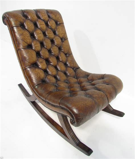a antique leather chesterfield rocking chair 279651