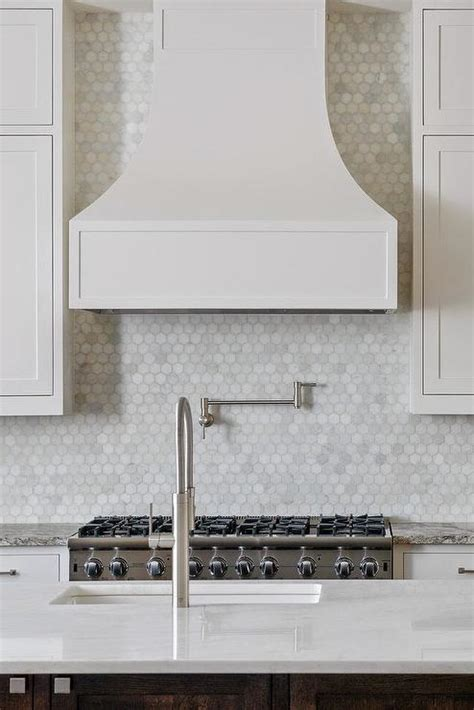 kitchen  carrera marble hex tiles transitional kitchen