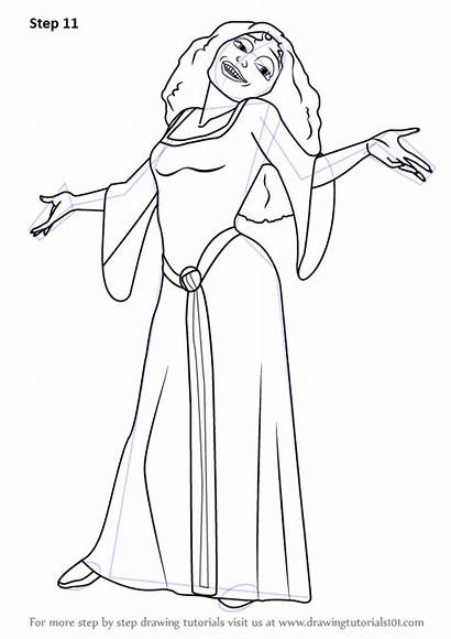 Gothel Mother Draw Tangled Drawing Step Sketch