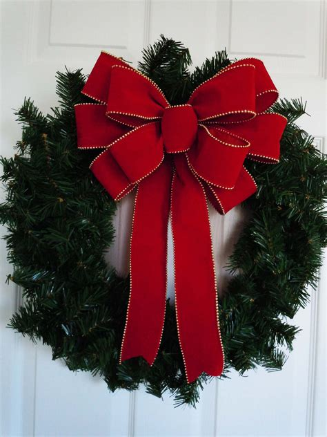 12 red velvet christmas bow indoor outdoor large