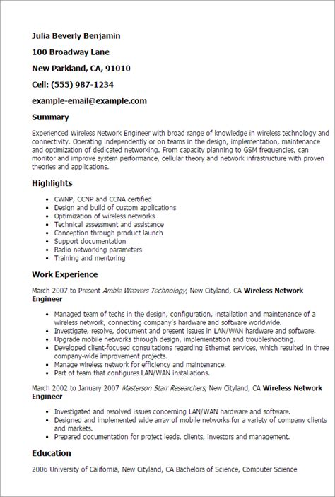 professional wireless network engineer templates to