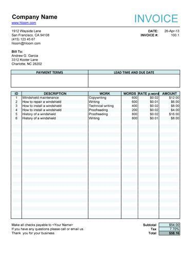 service invoice  article writers
