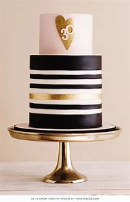 White Gold Black Birthday Cake