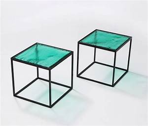 multiple green coloured glass side tables with metal quotbox With box frame coffee table glass