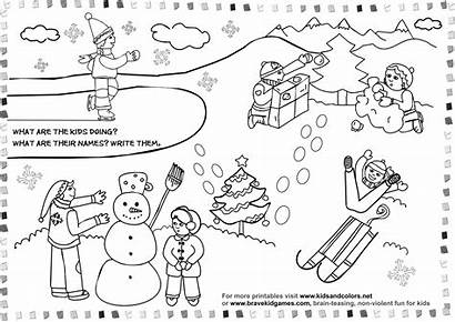 Winter Coloring Printable Pages Adults Worksheets Season