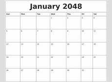 February 2048 Birthday Calendar Template