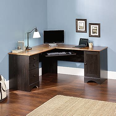 sauder harbor view corner computer desk curado cherry finish harbor view corner computer desk 403794 sauder