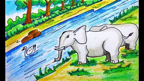 draw forest scenery  animals forest drawing