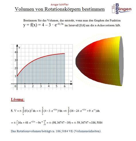 rotationsvolumen berechnen volumen bei rotation um die