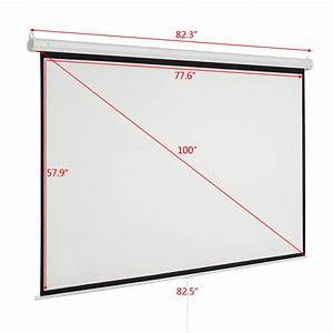 100 U0026quot  Pull Down Manual Projector Screen 4 3 Meeting Room