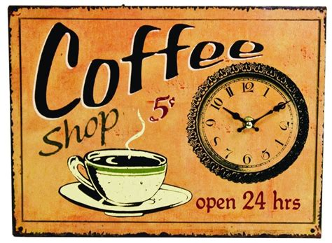 Tin Antique Style Coffee Shop Sign Wall Clock Clocks Sign