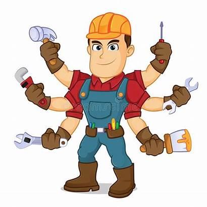 Handyman Tools Cartoon Holding Lawn Services Vector