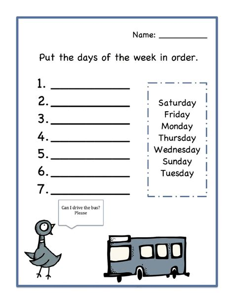 days of the week worksheets activity shelter 832 | Days of the Week Worksheets Order