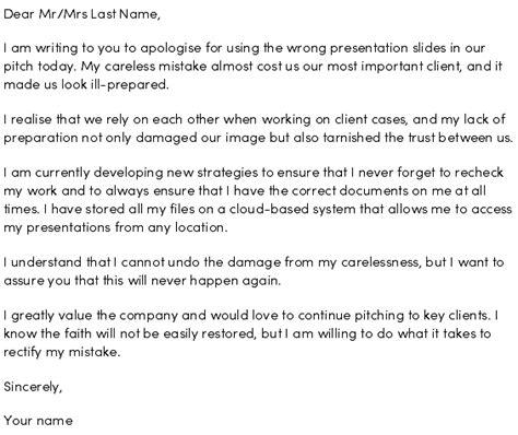 write  apology letter  making  mistake  work