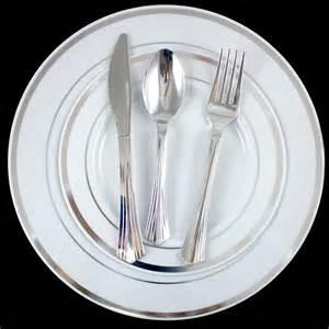 30 dinner wedding disposable plastic plates silverware silver ebay - Plastic Plates For Wedding