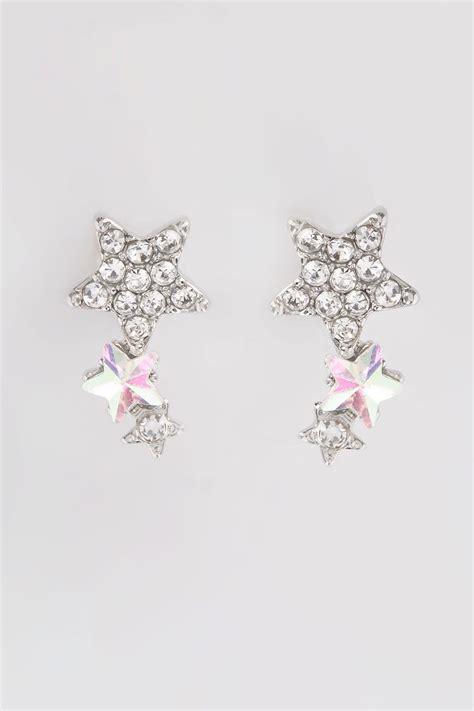 silver iridescent triple star stud earrings
