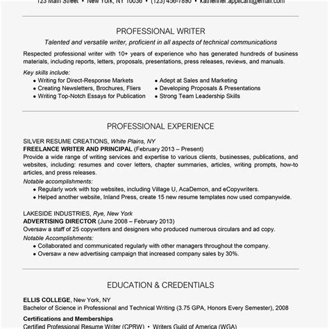 Writing Resume Your by Professional Writer Resume Exle And Writing Tips