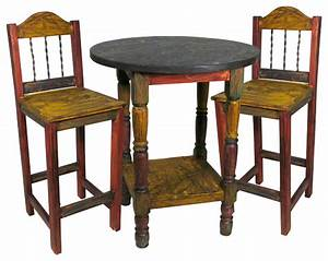 Painted Wood Bar Table Set with 4 Stools - Rustic - Indoor