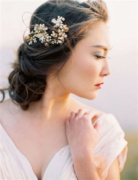 Low Messy Wedding Updo Hairstyle With Hairpiece Deer