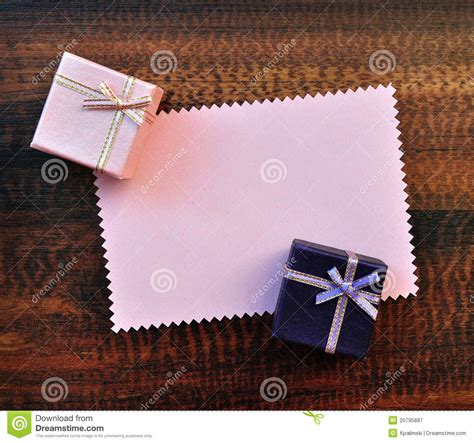 empty pink paper gift card  gift box stock image
