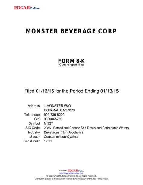 Monster Beverage 2015 Annual Presentation
