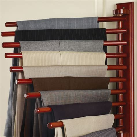 the closet organizing trouser rack hammacher schlemmer
