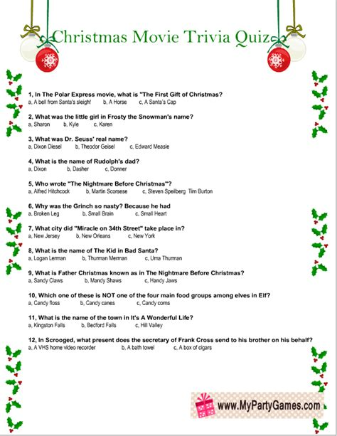Free Printable Christmas Movie Trivia Quiz