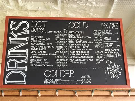 A coffee shop menu that serves iced drinks is a necessity, as most people expect them. Local coffee shop chalkboard menu... Almost too neat : PenmanshipPorn
