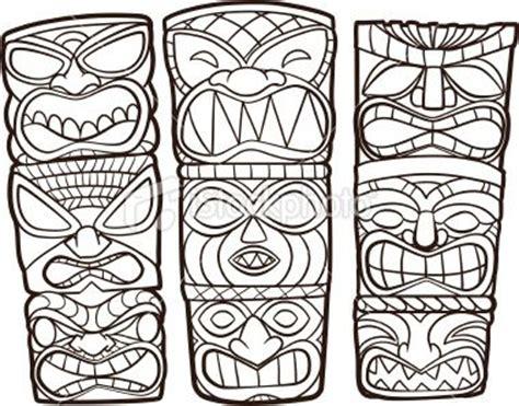 Tiki Totem Templates by Totem Pole Wood Polynesian Culture Cartoon Stock