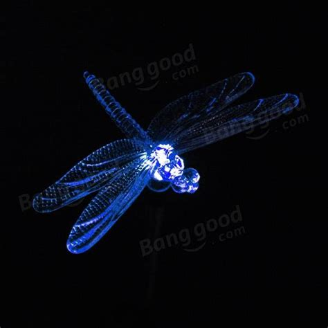 garden decor 7 color solar power dragonfly stake light