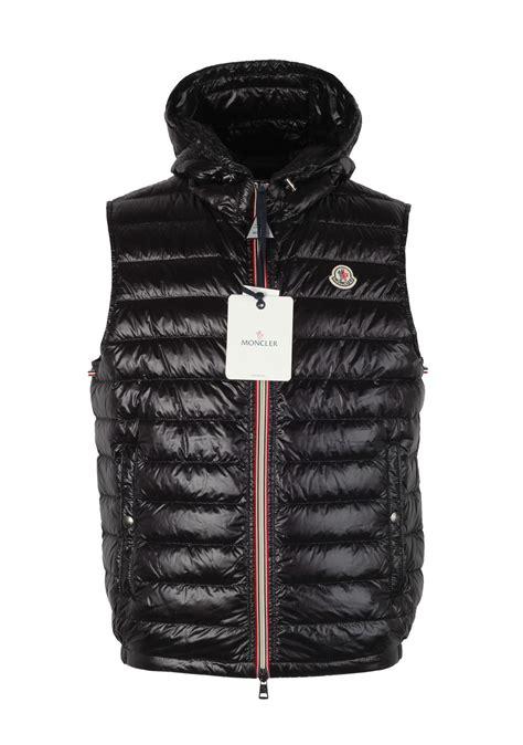 moncler black gien hooded shell gilet vest size